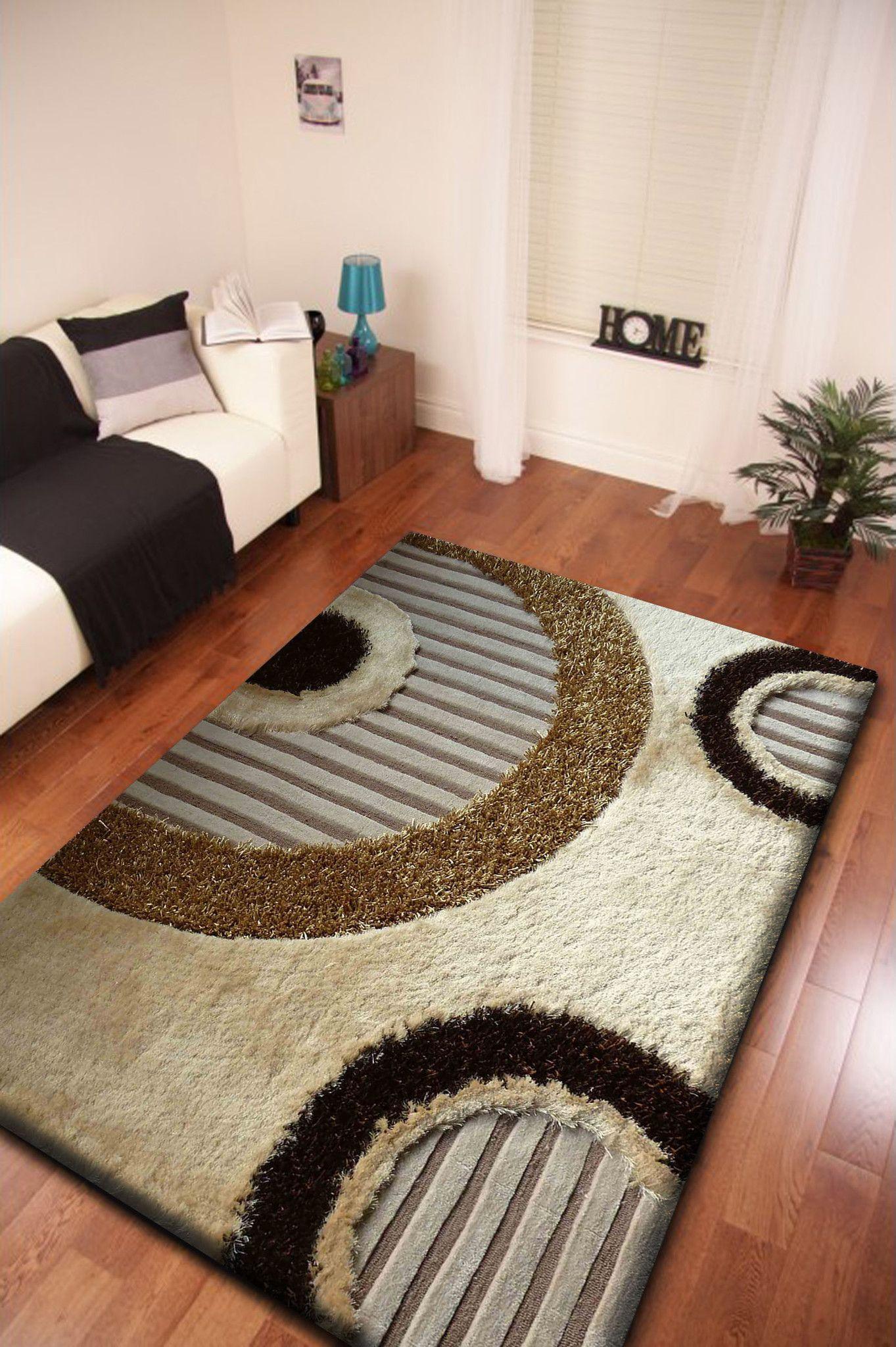 2piece set circular pattern beige shag rug u0026 pad