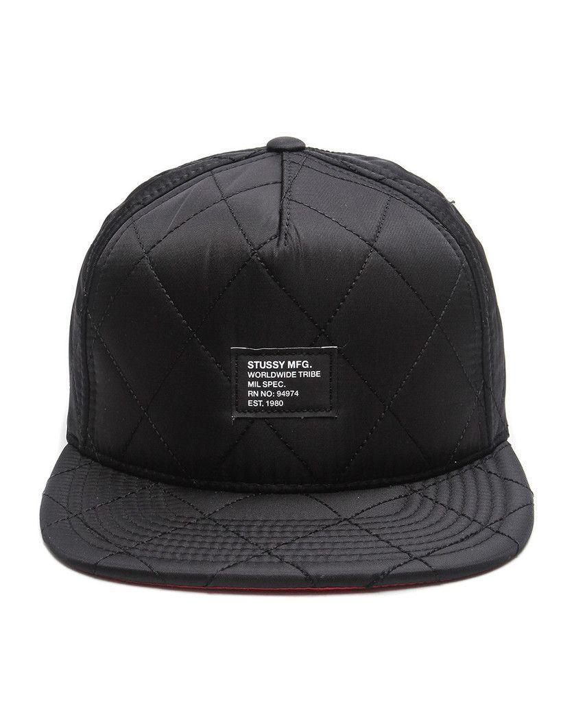 9c462f77222 Stussy - Quilted Foam Snapback Cap (Black)