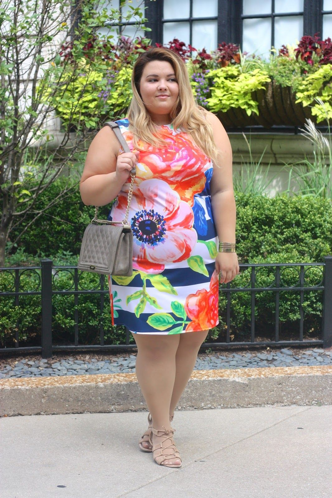 Plus size striped floral shift dress from Pineapple Clothing!