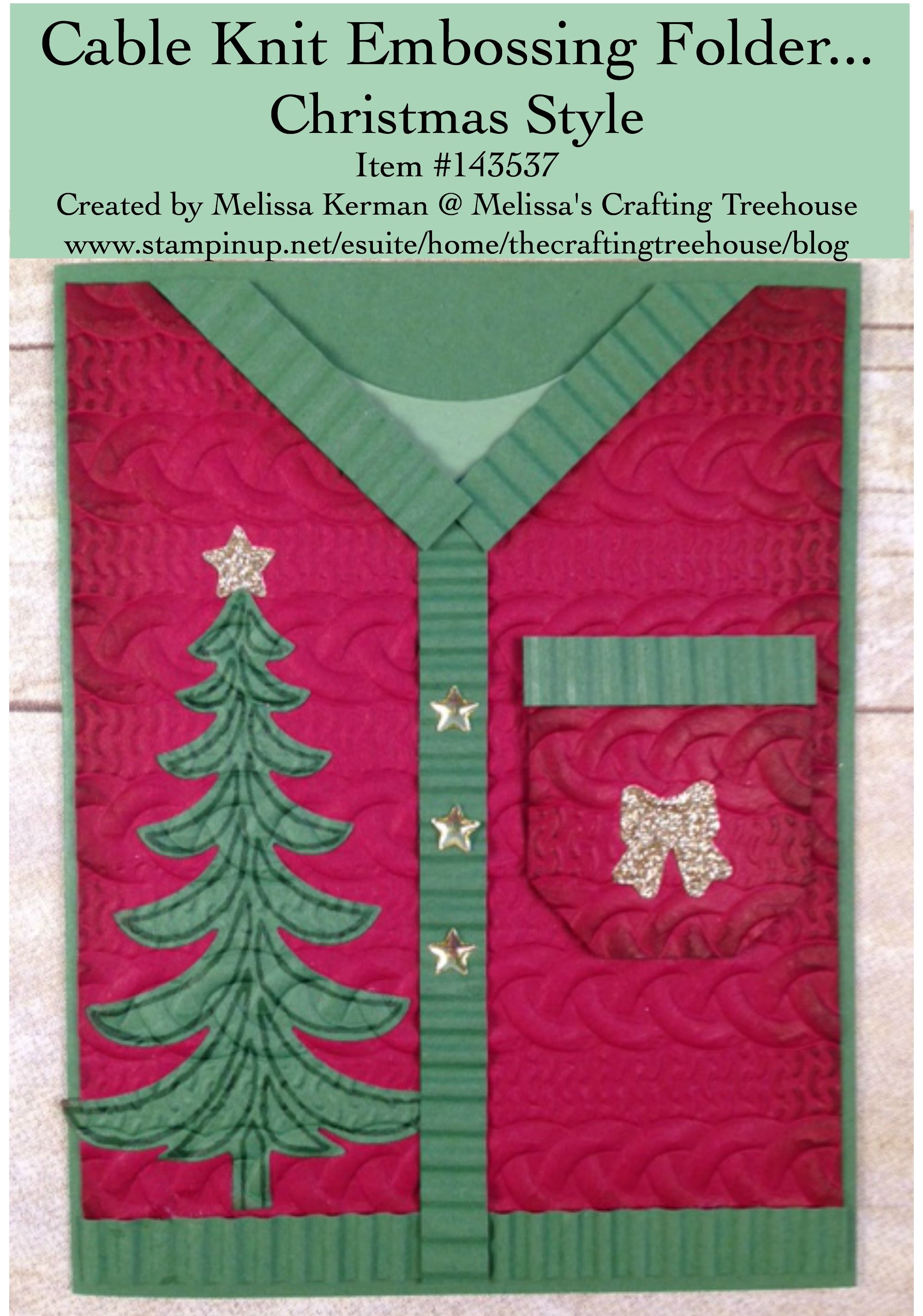 DIY, handmade, Christmas, sweater card using the Cable Knit ...