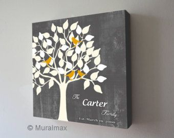 Family Tree With Birds Personalized Name Sign Canvas Art Anniversary Christmas Gift Wedding