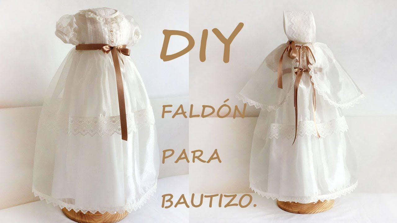 Como hacer un faldón de bautizo para niño y niña. Costura y patrón de ba...