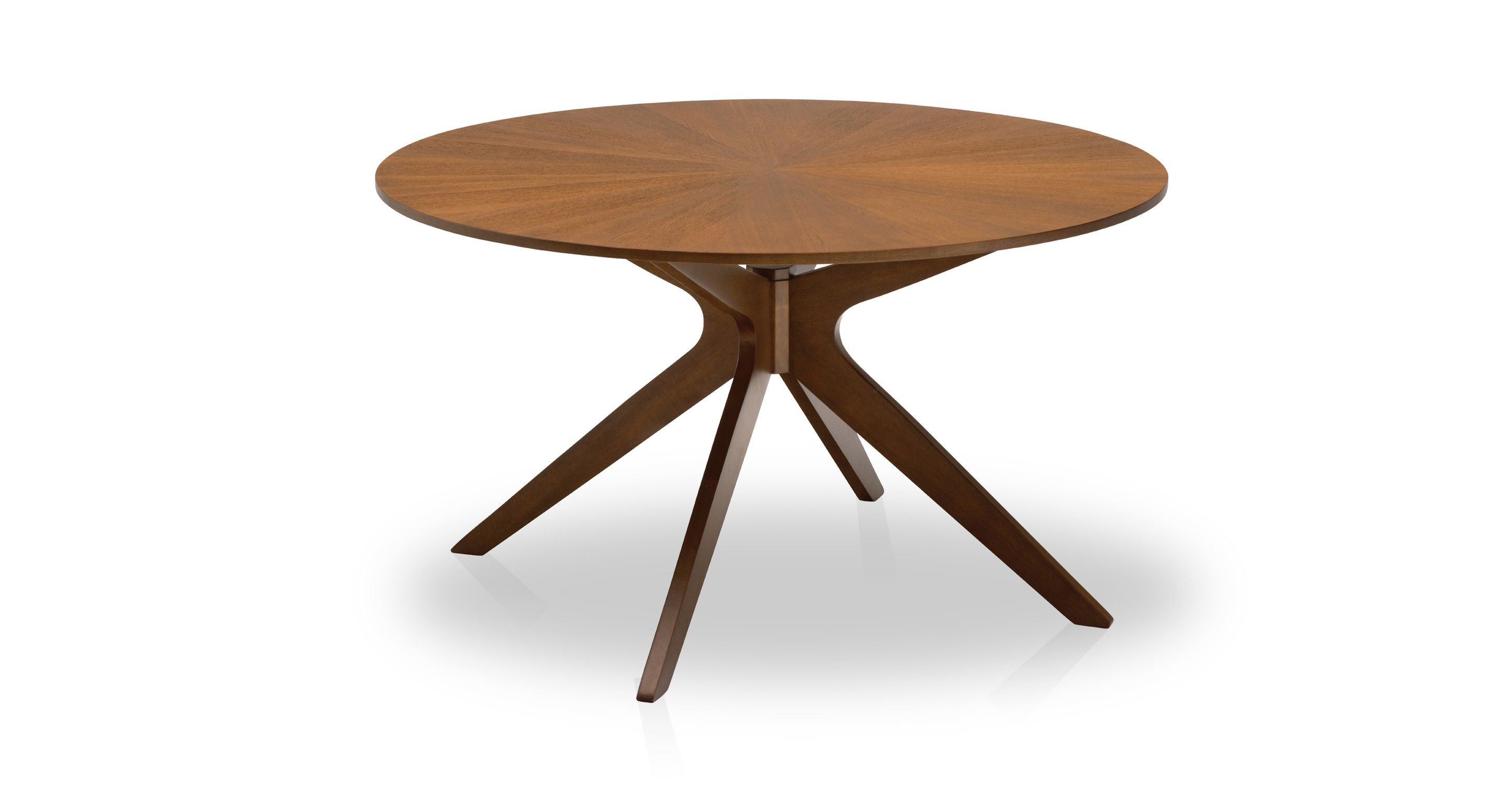 Round mid century modern dining table in brown wood for Modern large round dining table