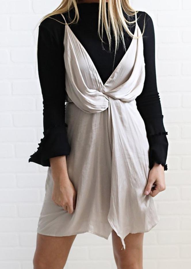 $46 layered dress. Cute silver slip dress. wedding guest outfit ...