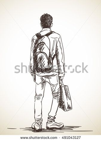 Sketch Of Standing Man With Shopping Bag Hand Drawn Illustration Human Figure Sketches Human Figure Human Sketch