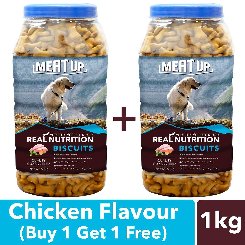 Meat Up Chicken Flavour Real Chicken Biscuit Dog Treats 500g