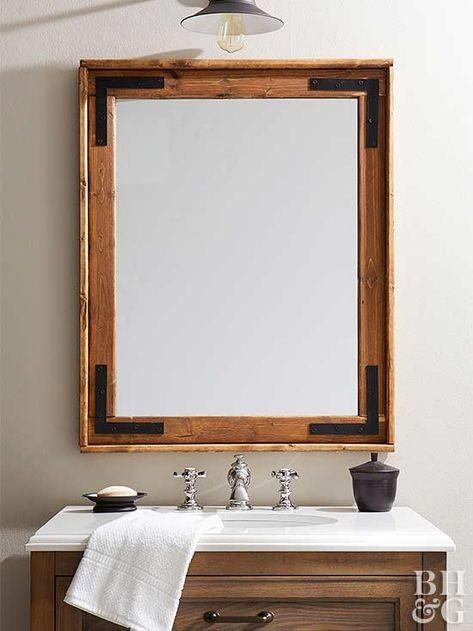 DIY Farmhouse Mirror | Bathroom | Pinterest | Farmhouse style ...