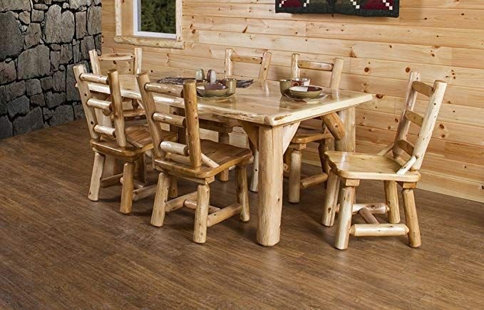 Furniture Barn USA Rustic White Cedar Log Dining Table Table and