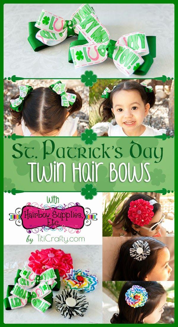 DIY St. Patrick's Day Twin Hair Bows Hair bows, Diy hair