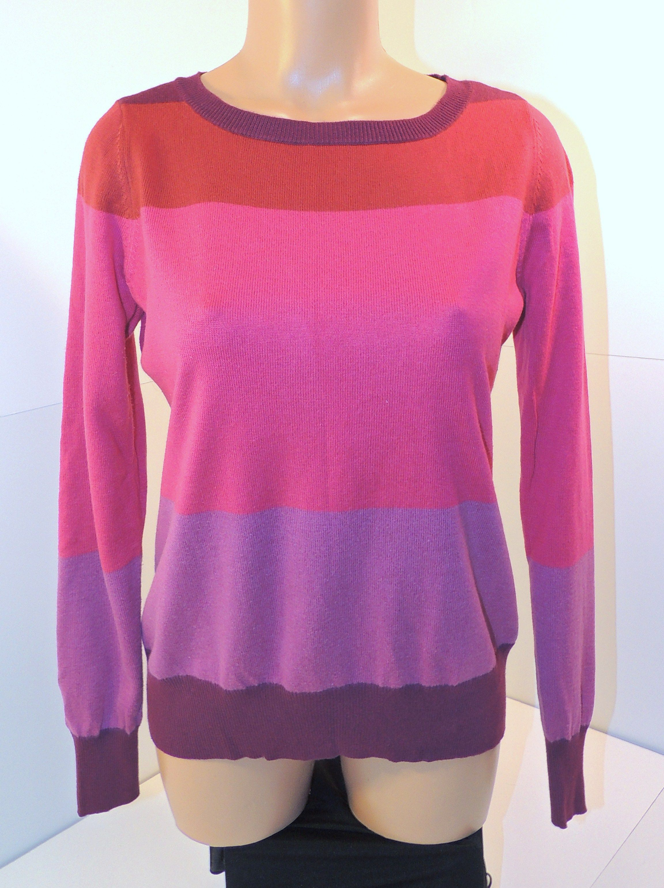 Liz Claiborne Women's Pink & Purple Striped Long Sleeve Top Shirt ...