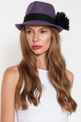 Paper Faces Siyah Cicekli Mor Hasir Fotr Sapka 284156 Model Fashion Beauty