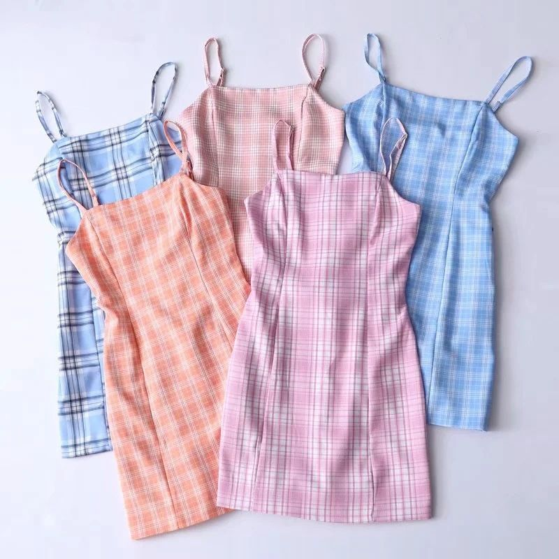 Belted small fresh suspenders bag hip skirt plaid
