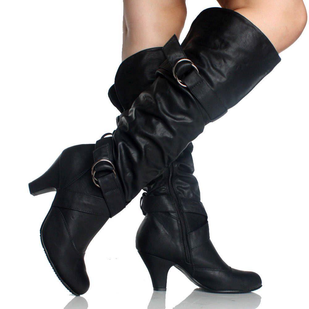 black slouch boots buckle scrunch fashion dress