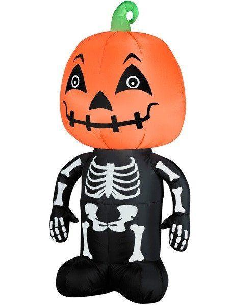 35\u0027 LED Inflatable Pumpkin Head on Skeleton Body Lighted Halloween - halloween lighted decorations