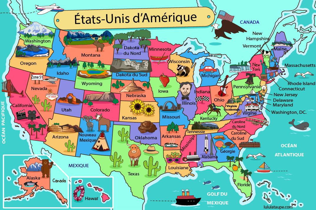 carte des etats unis d amérique Carte des États Unis d'Amérique à imprimer (avec images)   Carte