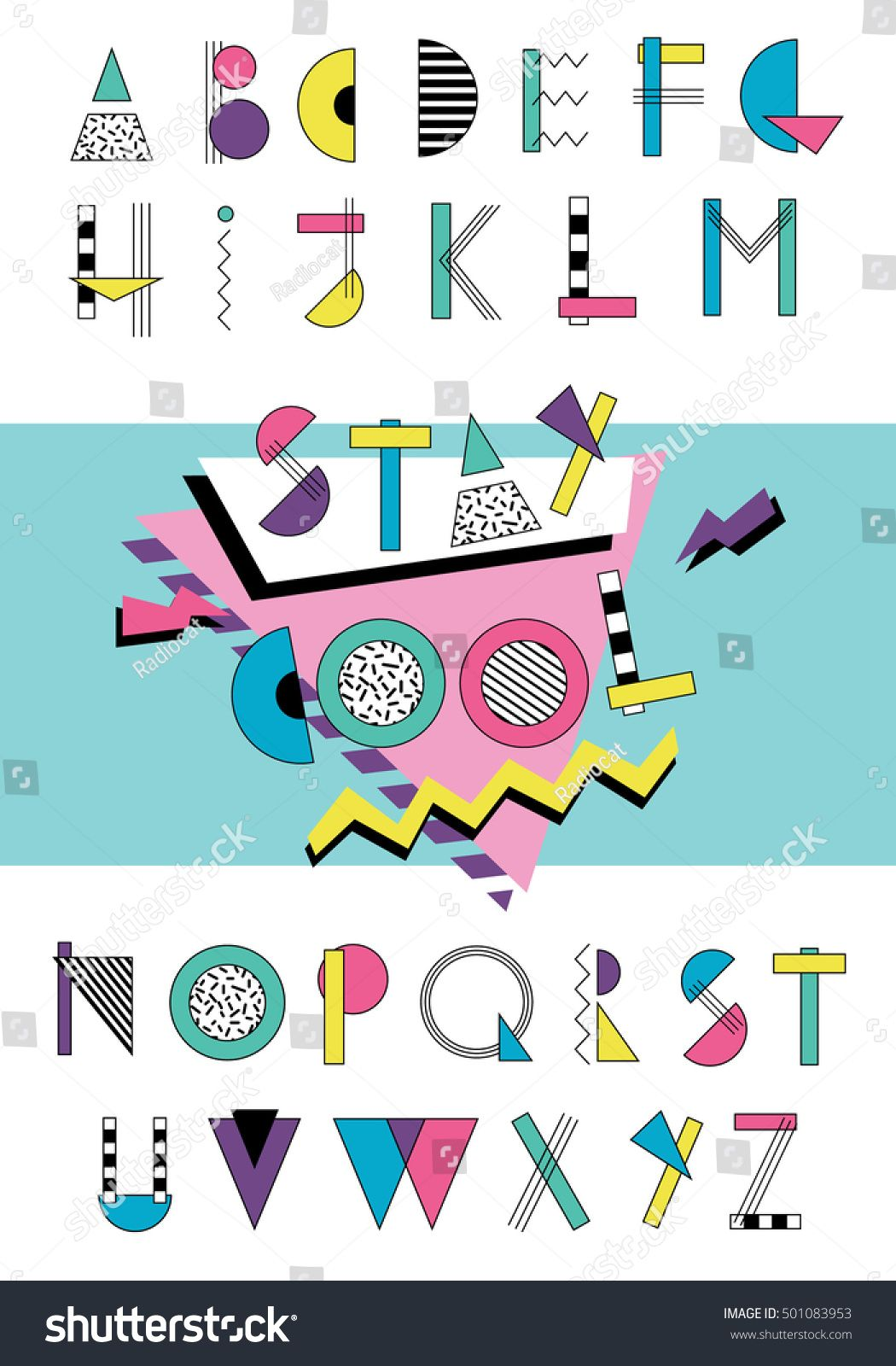 Hand drawn abstarct alphabet. Colorful funny font in retro memphis style. 80s - 90s abc #memphisdesign