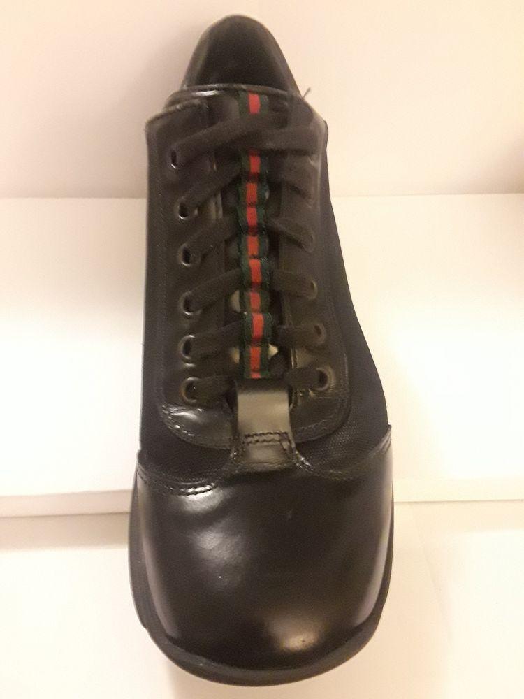 026e04d41ff Gucci Women Canvas Leather Sneakers Black 101 6127 Size US 7.5 EU 38 LEFT  ONLY