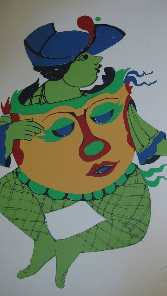 Bjorn Wiinblad Denmark Silk Screen for Carnival Line Promotion 1986