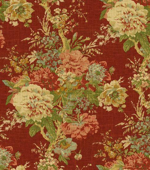 Waverly Ballad Bouquet Tea Stain Fabric