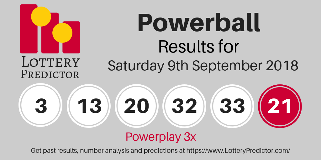 Powerball Draw Results For Saturday 8th September 2018 3 13 20 32 33 Powerball 21 Powerplay 3x Powerball Lottery Powerball Lottery Lottery Results