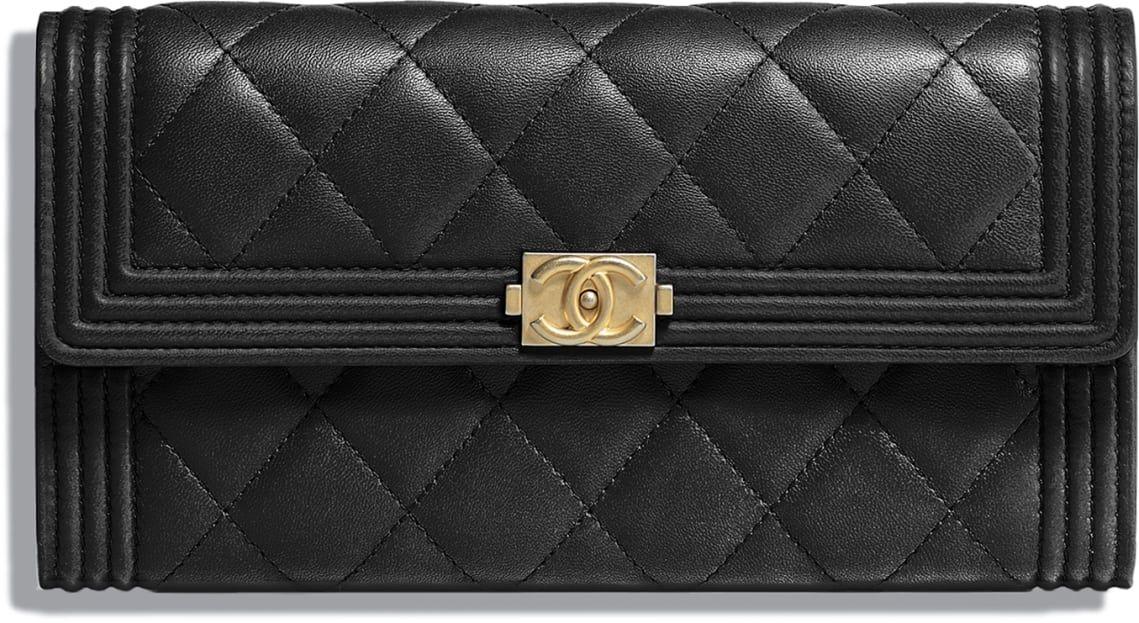 37797b23a4 BOY CHANEL Flap Wallet, lambskin & gold-tone metal, black - CHANEL ...