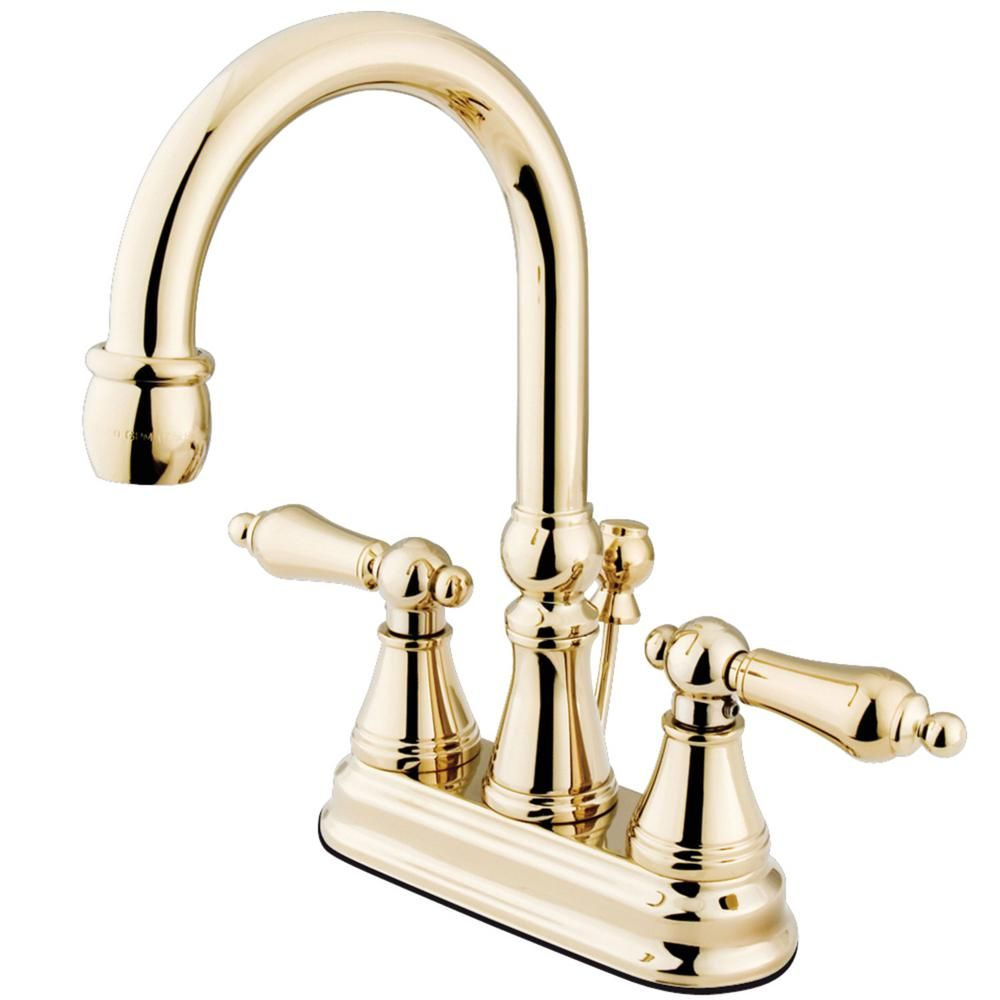 Kingston Brass Governor 4 In Centerset 2 Handle Bathroom Faucet In Polished Brass In 2020 Kingston Brass Polished Brass Bathroom Faucets