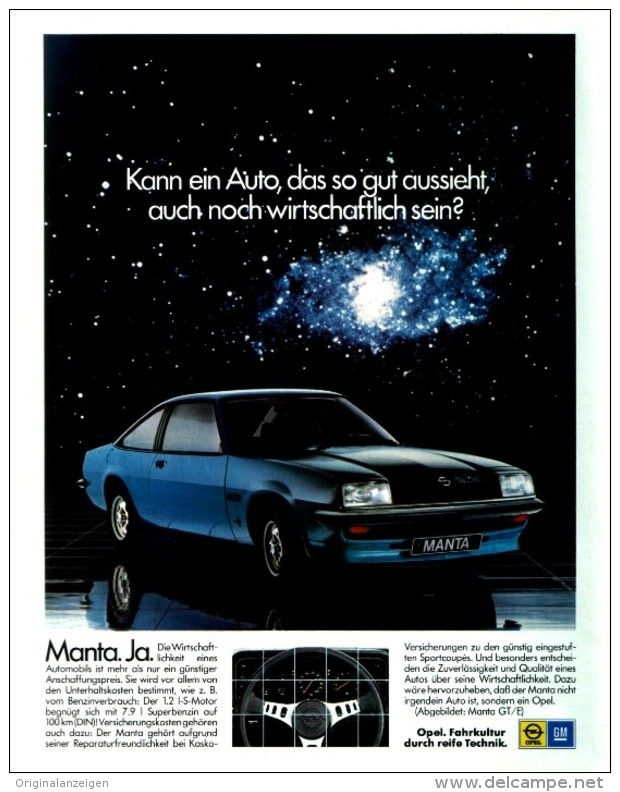 original werbung anzeige 1978 opel manta gt ca 200 x 240 mm cars pinterest opel. Black Bedroom Furniture Sets. Home Design Ideas