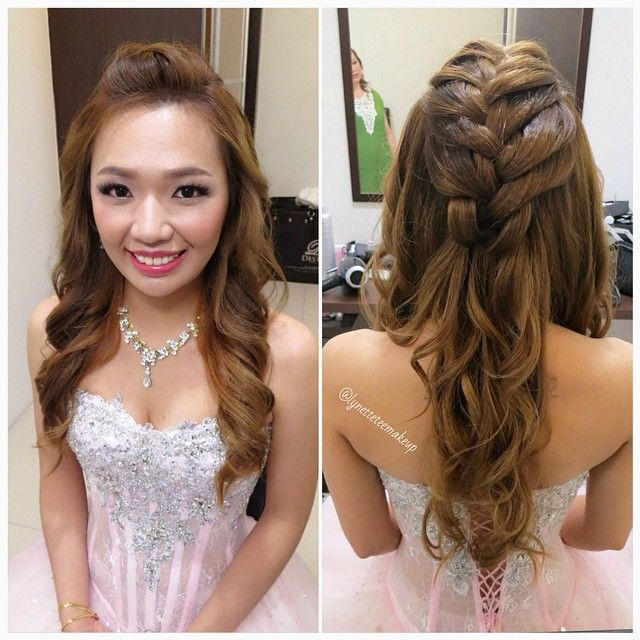 wedding dinner hair style wedding dinner makeup amp hairdo princess braided wavy 8360