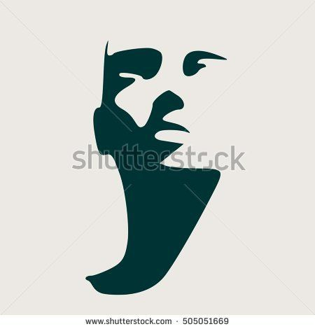 Human head silhouette  Face front view  Elegant silhouette of part