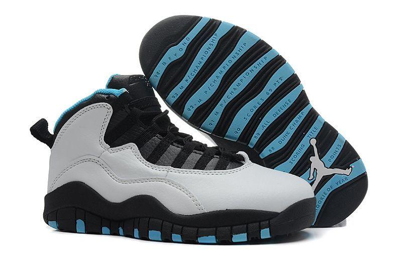 Nike Factory Sale Kids Air Jordan 10 (X) Retro White Black Blue Shoes Online