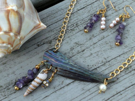 Purple & gold matching jewelry collection by phoebemoll on Etsy, $40.00