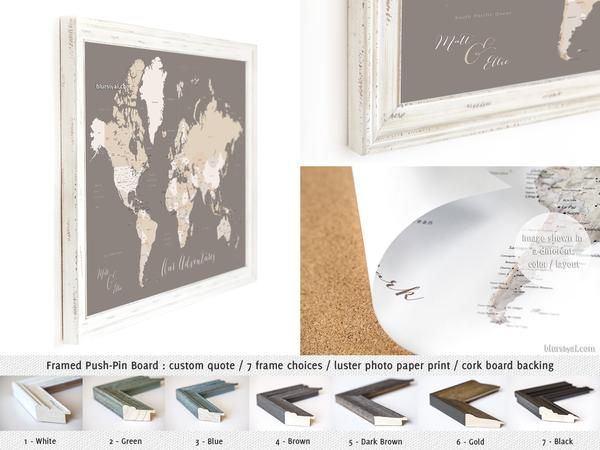 Framed push pin board featuring your custom quote world map with framed push pin board featuring your custom quote world map with countries and states gumiabroncs Images