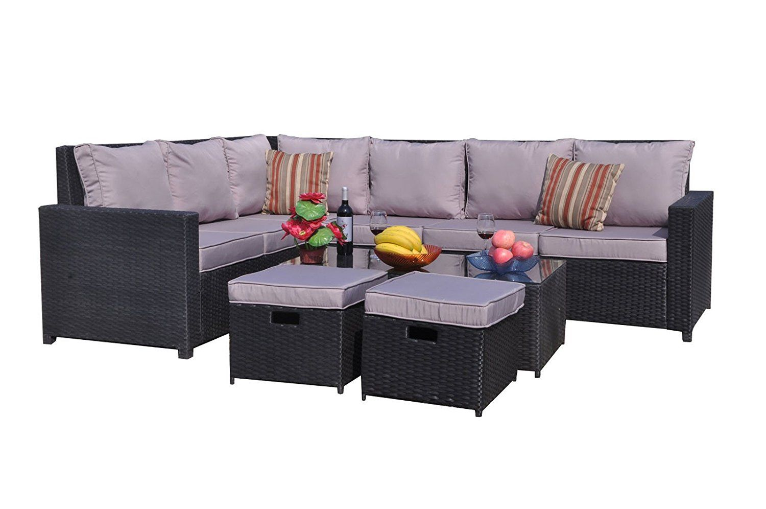 Yakoe New Conservatory Modular 8 Seater Rattan Corner Sofa Set Black Find Out More At The Image Link Garden Rattan Corner Sofa Corner Sofa Set Furniture
