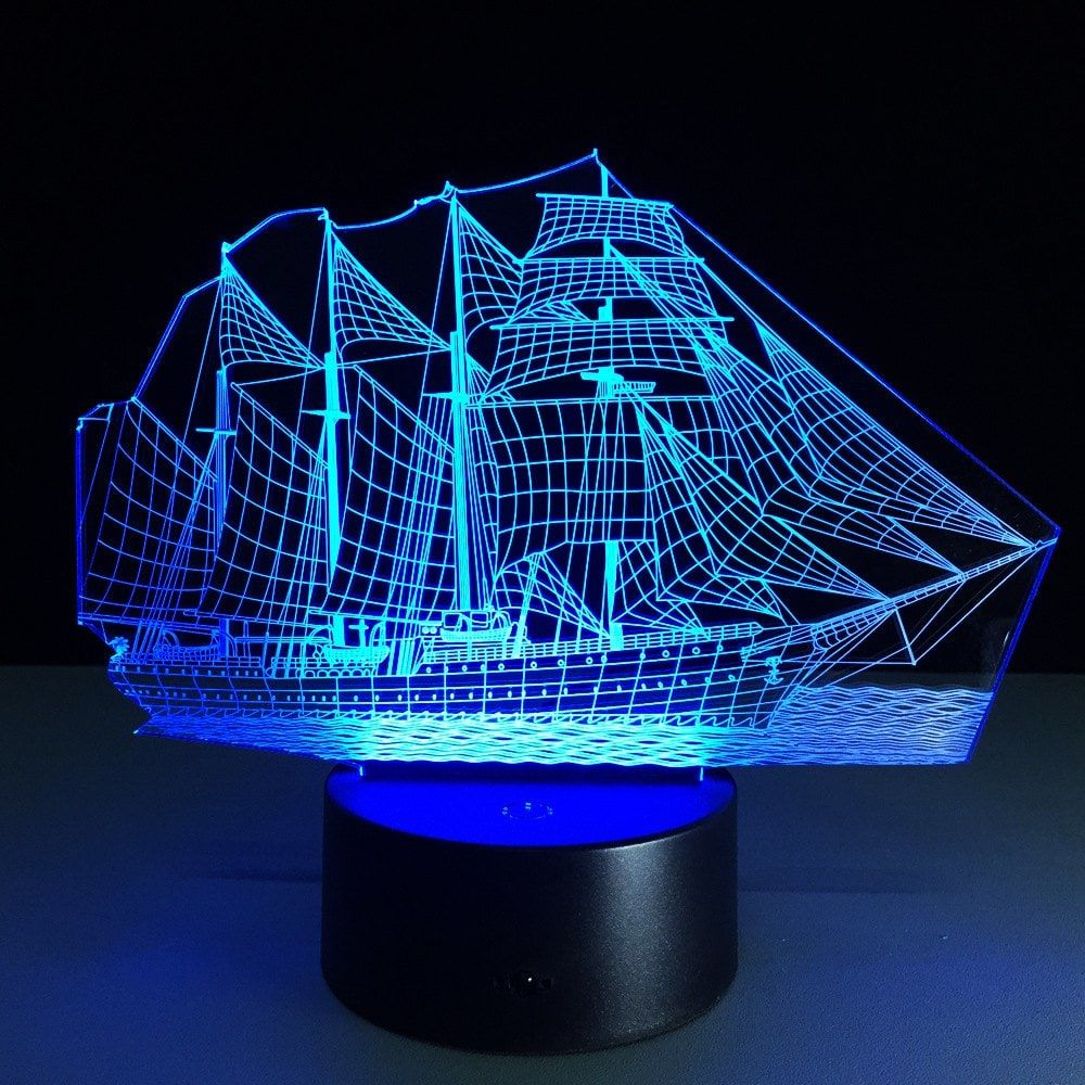 Yeduo Creative 3d Led Night Light Acrylic Sailing Boat Shape Discoloration Lamp 3d Led Light 3d Illusion Lamp 3d Led Night Light