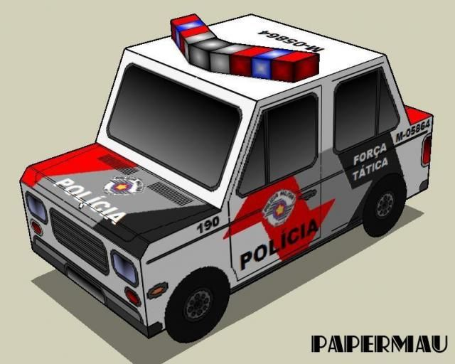 002 Military Police Car Paper Model Of The State Of São Paulo