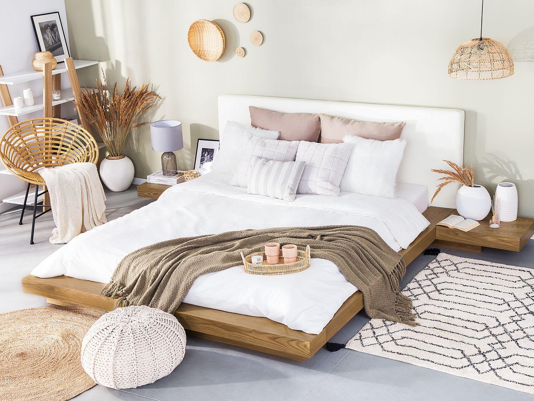 Eu Super King Size Waterbed Light Wood Zen Japanese Futon Bed