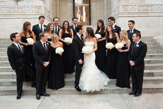 A Sophisticated Black Tie Wedding At New York S Gotham Hall Black And White Wedding Theme Black Bridal Parties Black Tie Wedding