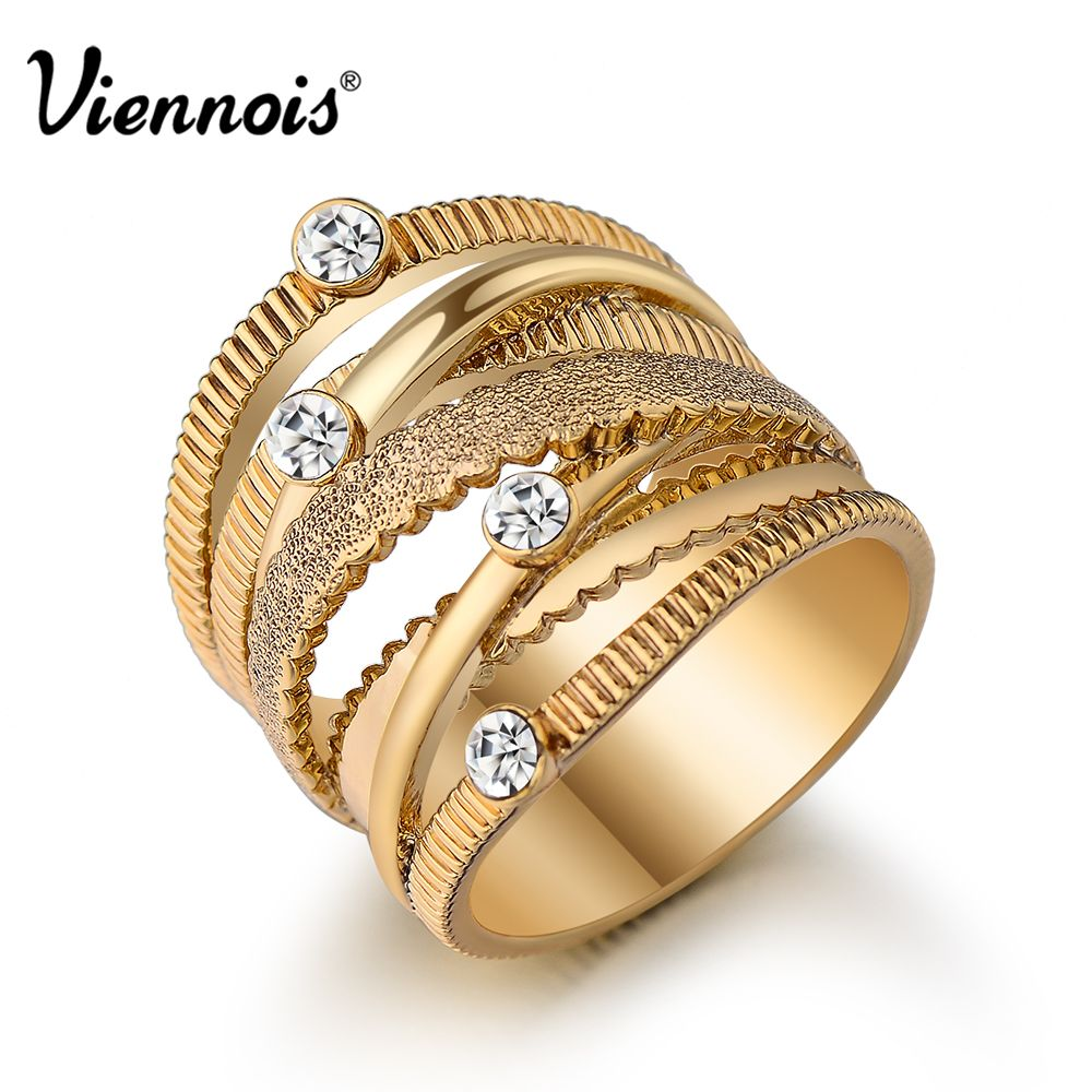 Viennois Spiral Wide Gold Plated Finger Rings Multilayer Hollow For Women Trendy Stack Ring Jewelry Female