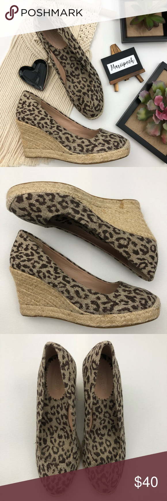ed8a40fa48f J. CREW Espadrille Animal Print Wedge Shoes -animal print / leopard ...
