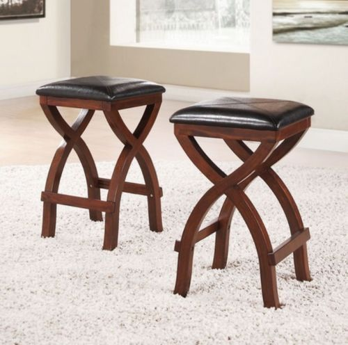 Modern Home Furniture Set Of Two 24 Quot Stools Stylish Dark