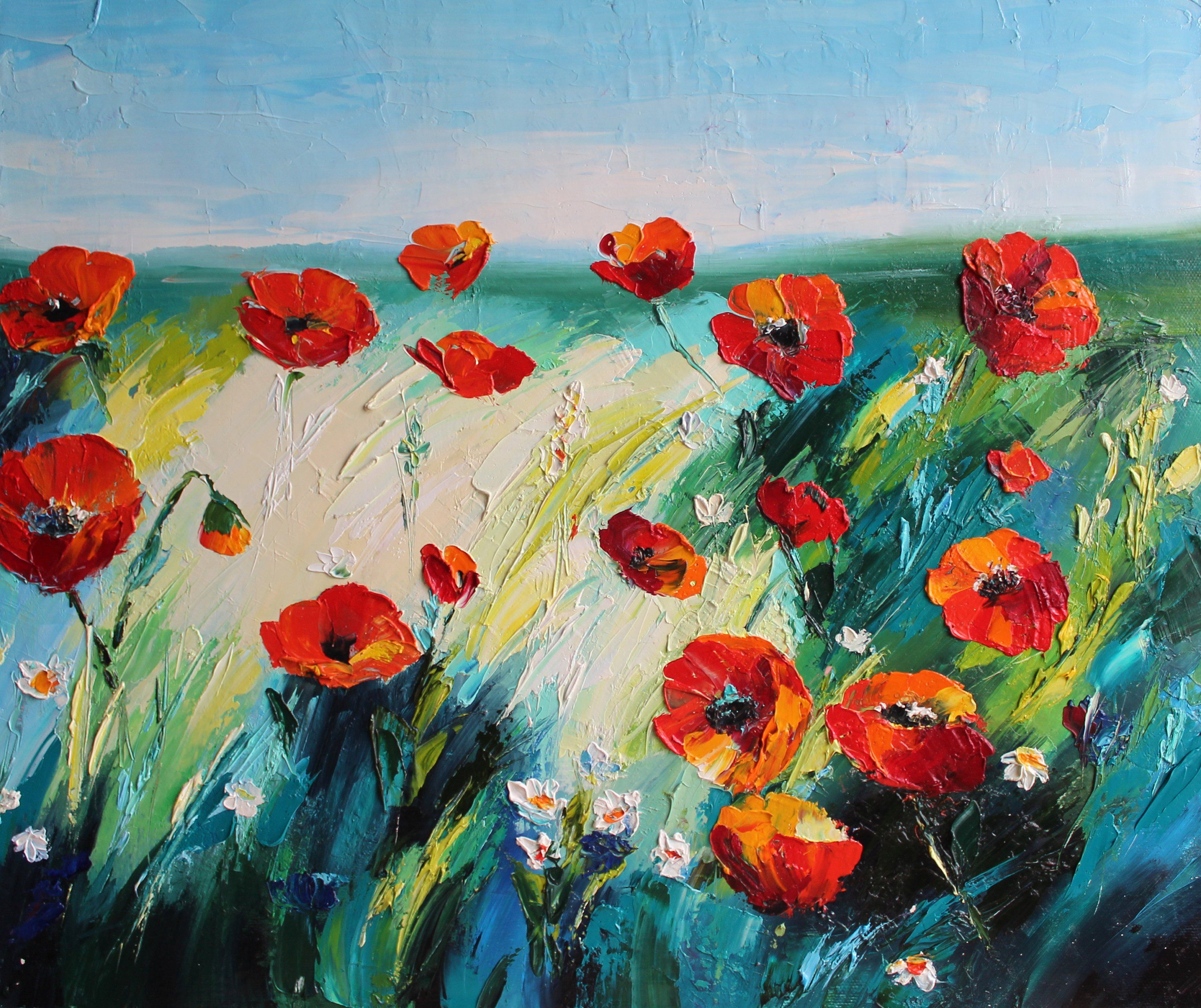 Red poppies Oil painting on canvas Red flower art