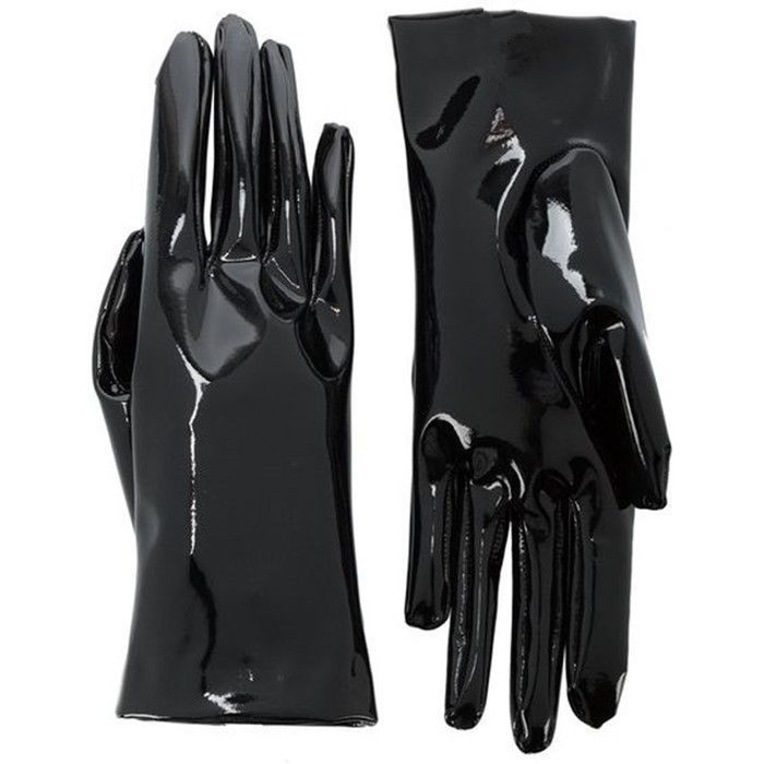 bf174a0d61a Shine Leather Faux Patent Leather Wrist Long Gloves Black Cosplay Gothic  Latex Patent Wrist Faux