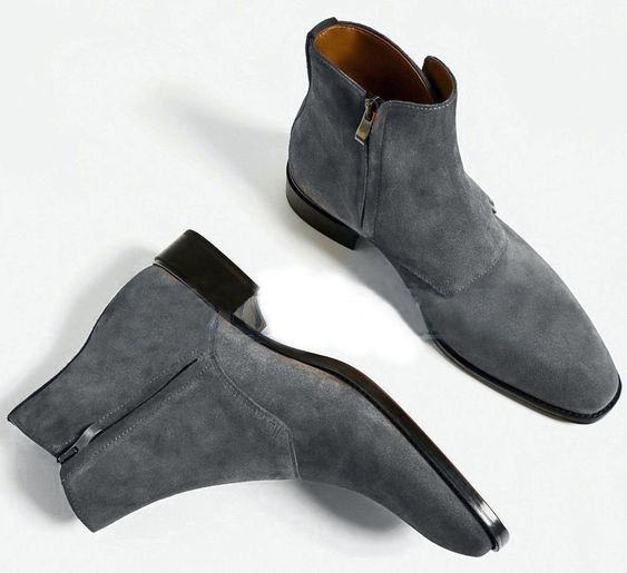 4da30089aec4 Handmade Men Grey color Suede ankle boots