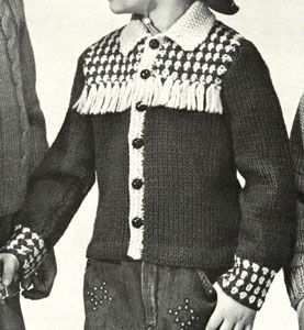 Boy's Cowboy Jacket knit pattern from Speedknits for Children, originally published by Patons & Baldwins, Book 71.