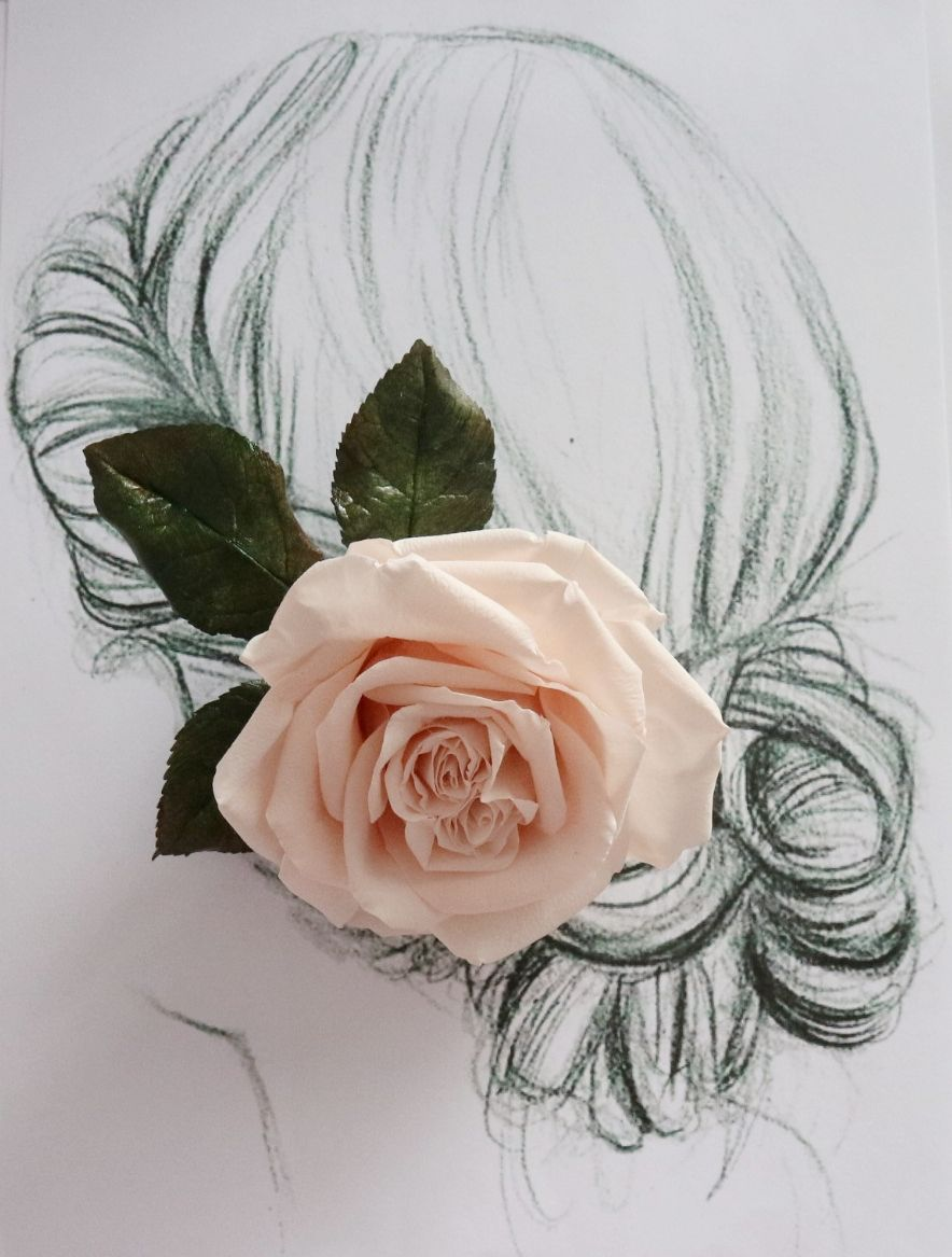 Coral pink rose floral hair clip Blush pink flower brooch Wedding