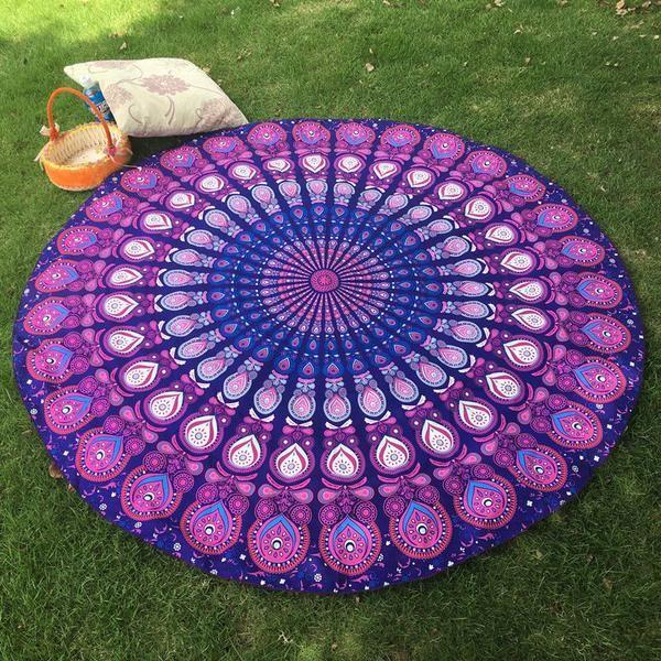 New Indian Roundie Round Mandala Hippie Tapestry Boho Beach Throw Towel Yoga Mat