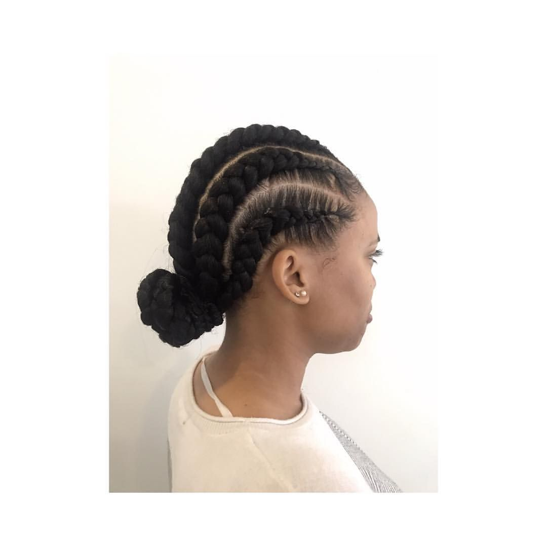 Feed In Cornrows In A Low Bun Feedinbraids Braids Braidstyles Braidgoals Protectivestyles Protectives Goddess Braids Feed In Braid Natural Hair Styles