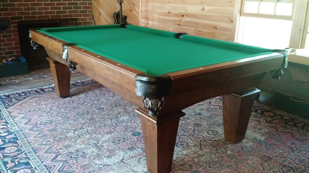The Connelly Kayenta Shown Here In Pecan On Maple With Championship Green Cloth And Black Shield Pockets One Of The Mos Pool Table Pool Halls Billiard Table