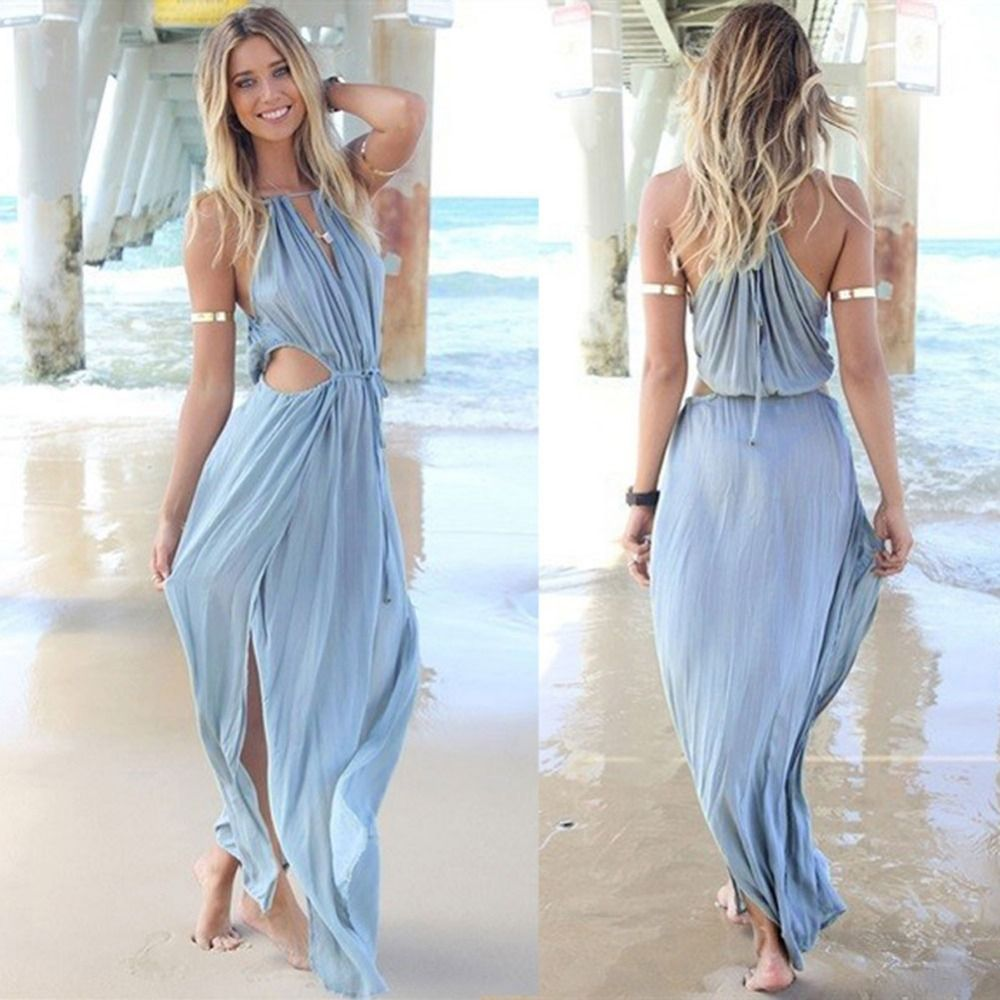 2015 verão mulheres novas moda Sexy solto V neck oco Out vestido de ...