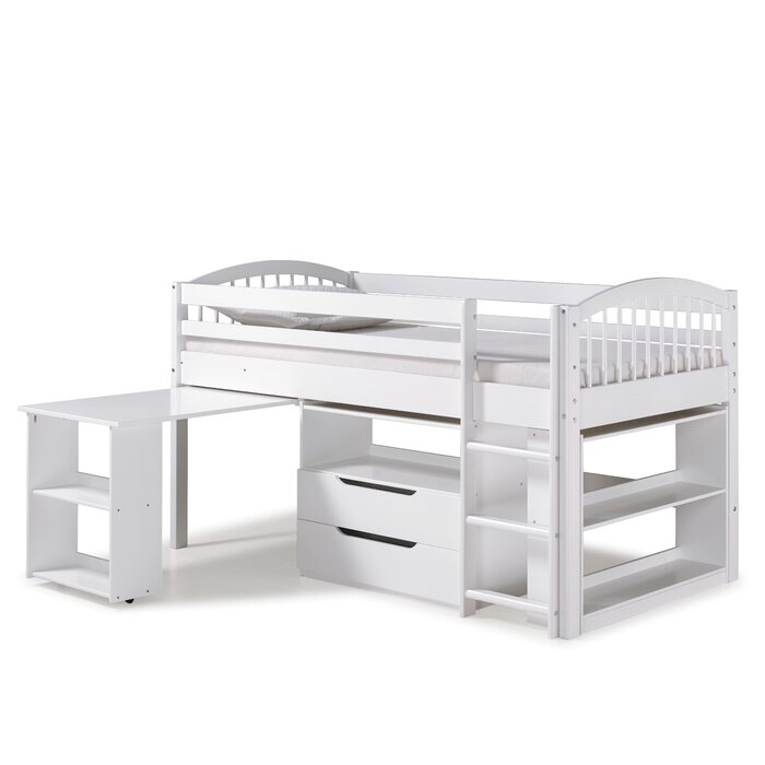 Abigail Twin Loft Bed With Desk And Storage With Images Bed Storage Drawers Twin Loft Bed Junior Loft Beds